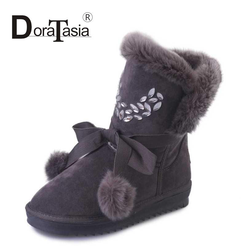 DoraTasia 2 Colors With Fur Winter Women Snow Boots Rhinestone Fuzzy Ball Decoration Shoes Woman Sweet College Style Boots(China (Mainland))