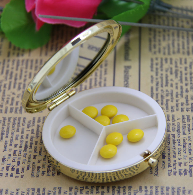 120pcs 70MM Metal Blank Pill boxes with Compact Mirrors DIY Storage Box Medicine Organizer container Silver- Free Shipping(China (Mainland))