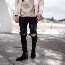 kanye west represent Same jeans men light blue/black designer rock star destroyed ripped skinny distressed jeans(China (Mainland))