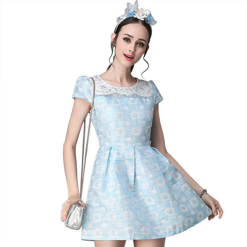 Women Elegant Lace Patchwork Blue Summer Dresses 2016 New Europe Style Short Sleeve O-Neck Slim A-Line Dress Vestidos(China (Mainland))
