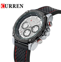 Hot sales Men's CURREN Golf ball Style 3 smalls Dials Silicone Strap Quartz Wrist Watches Men Military Sports Watch Relogio(China (Mainland))