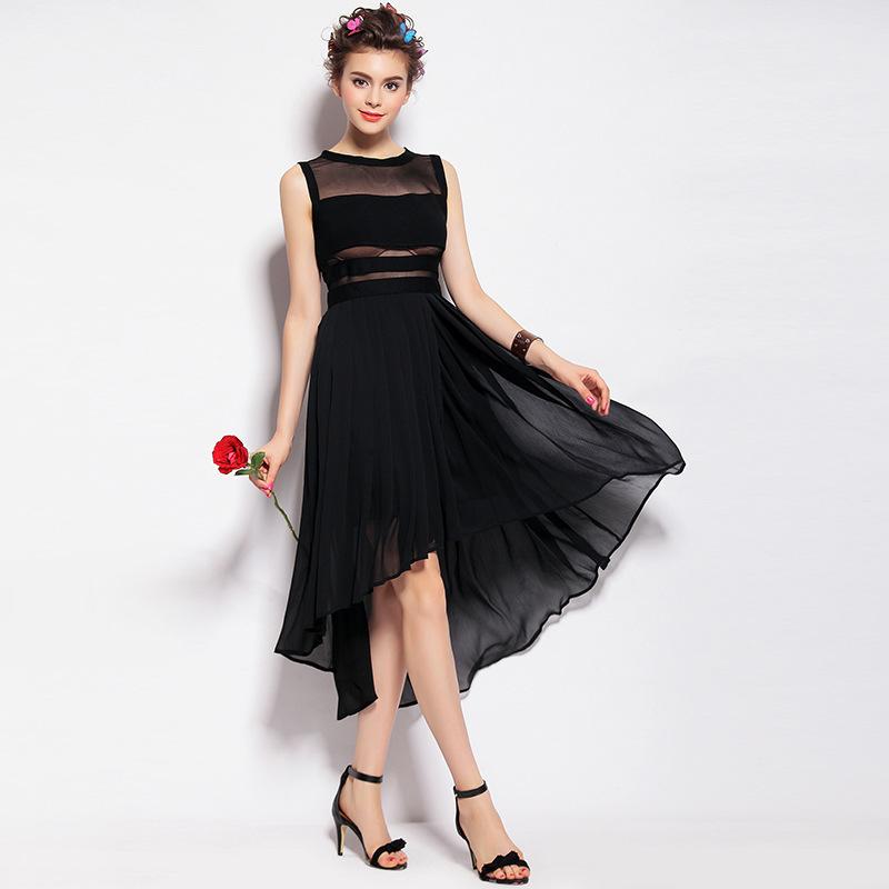 summer style European leg high-end women's 2015 new Europe solid color zipper Slim sleeveless dress Q151371 - LADY SARA'S FASHION STORE store