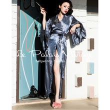 2016 Spring New Arrival Le Palais Vintage Elegance Sexy Gray Blue Satin Flare Sleeved Package Type Long Pajamas Women(China (Mainland))