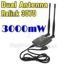 long rang BT-N9100 Beini USB Wifi Adapter Wireless Network Card Ralink 3070 High Power 3000mW Dual Antenna(China (Mainland))