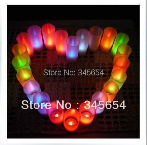 NEW LED Candlelight Candle 7 Color Night Light Lamp Change Flicker Sensor for Wedding Party Christmas #96(China (Mainland))