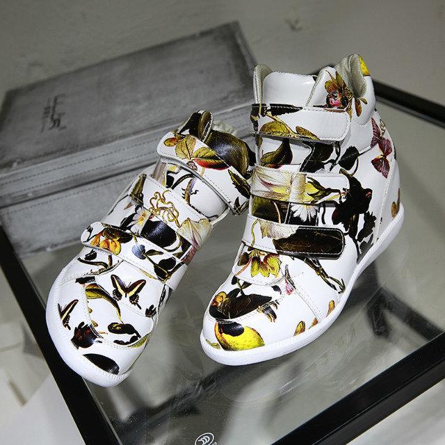 New Korean version increased break flowers high top women sneakers Velcro wedges PU leather tidal sport shoes wholesale(China (Mainland))