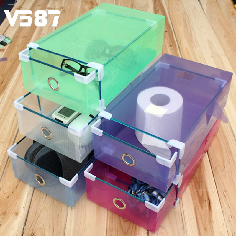 Multicolor Optional Transparent Clear Plastic Shoe Boot Box Stackable Foldable Storage Drawer Box Organizer Rectangle 30 X 9cm(China (Mainland))