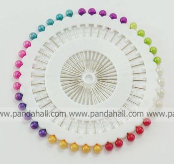 Iron Pins,  with Round Acrylic,  about 0.5mm wide,  35mm long; 40pcs/set