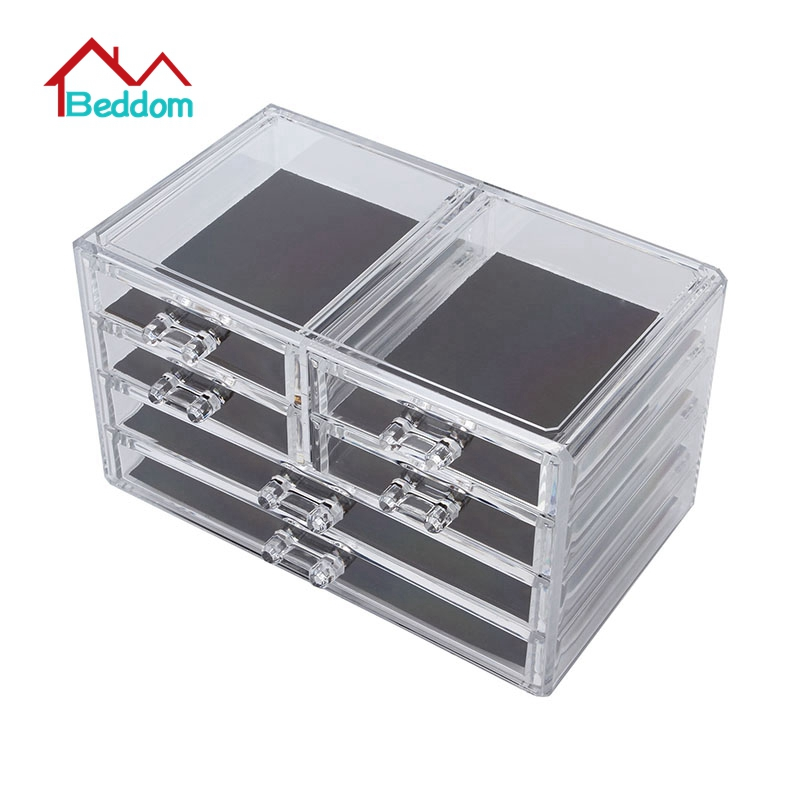 Beddom Deluxe 6-drawer Jewelry Chest Or Cosmetic Organizer With Removable Drawers And Liners Moldiy Acrylic Clear Jewelry Box(China (Mainland))