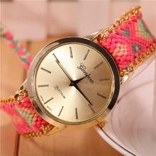 10 Colors New Fashion Women Braided Rope Bracelet Wristwatch Relogio Feminino Bohemian Style Quartz Watch Dress