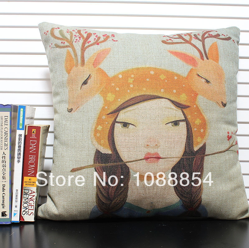 Fashion Creative Printed Cushion Realistic Oil Painting Deer Girl Pillow Cover Sofa Decorative Cushion Cover Back Pillow(China (Mainland))