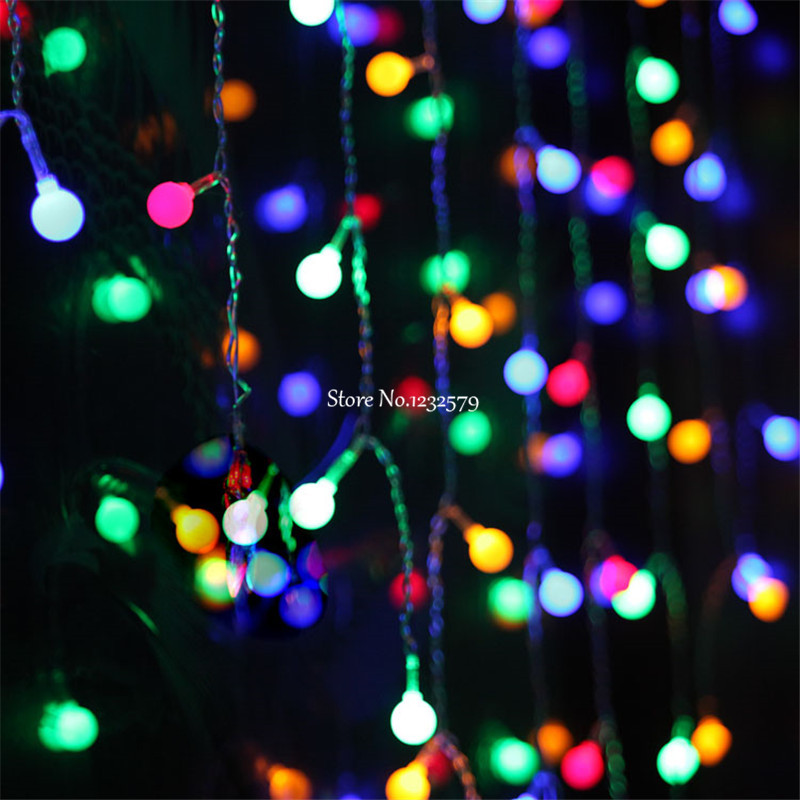 Multi-color 3.5M 96SMD Cherry Ball Curtain String Lights Led Lamps New Year Garden Xmas Wedding Party Windows Decoration(China (Mainland))