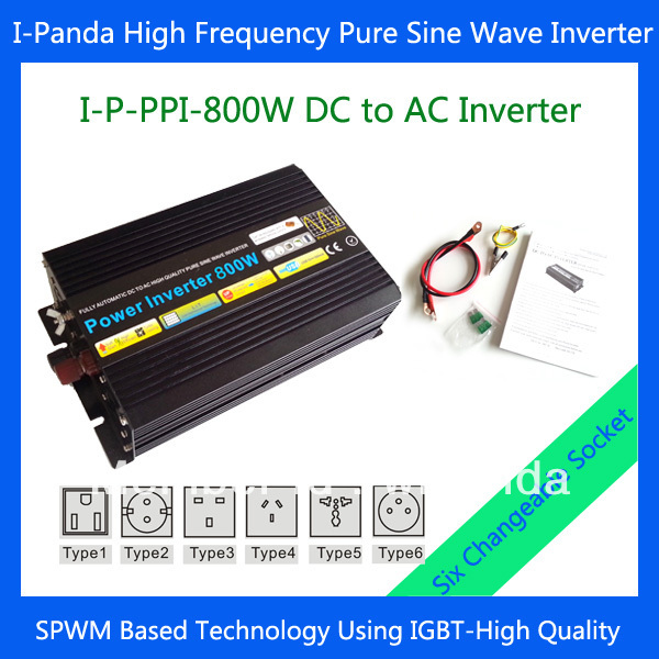Pure sine wave inverter 800W with selectable sockets<br>