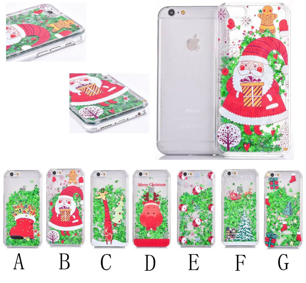 20% off buy 2pcs, Xmas Santa Claus Bling Shiny Case Merry Christmas Rubber Trees Snow Skin Case Cover For iphone 5 5SE 6 6Plus(China (Mainland))