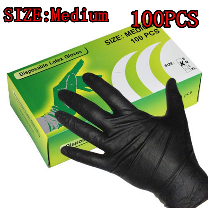 100PCS New Arrival Tattoo Gloves Tattoo Accessories Rubber Black Color M Size Free shipping<br><br>Aliexpress