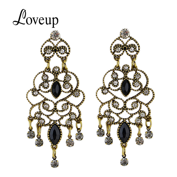 Chandelier Earrings New Big Design Alloy Hollow Out Black Drop Earring Wholesale Boucles D'oreille Women(China (Mainland))