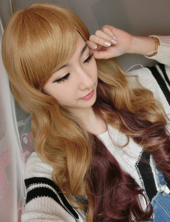 70 Cm Harajuku Sexy Party Cosplay Synthetic Hair Wig Bang Long Wavy Curly Wigs Cosplay Anime Wig Party Lot Ombre Wig<br><br>Aliexpress