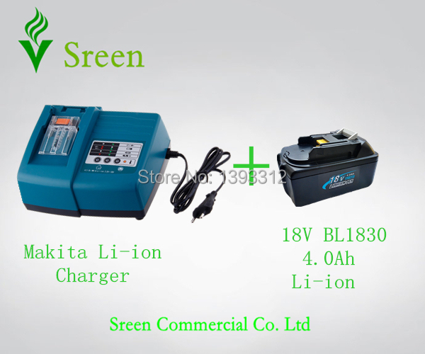 New Universal 18V Lithium Ion 4.0Ah Replacement Power Tool Battery Charger with Makita BL1830 Rechargeable Battery Free Shipping(China (Mainland))
