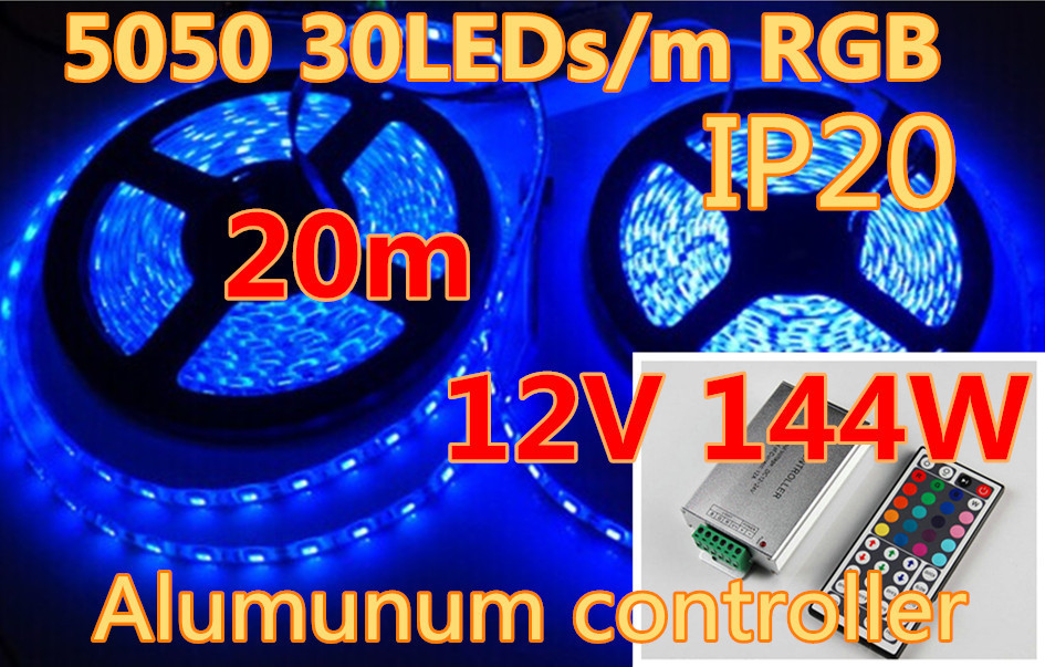 20m 5050 RGB led strip light 30LEDs/m SMD led stripe+44keys IR Remote 12A Controller Warm White Blue Green Red Yellow White(China (Mainland))