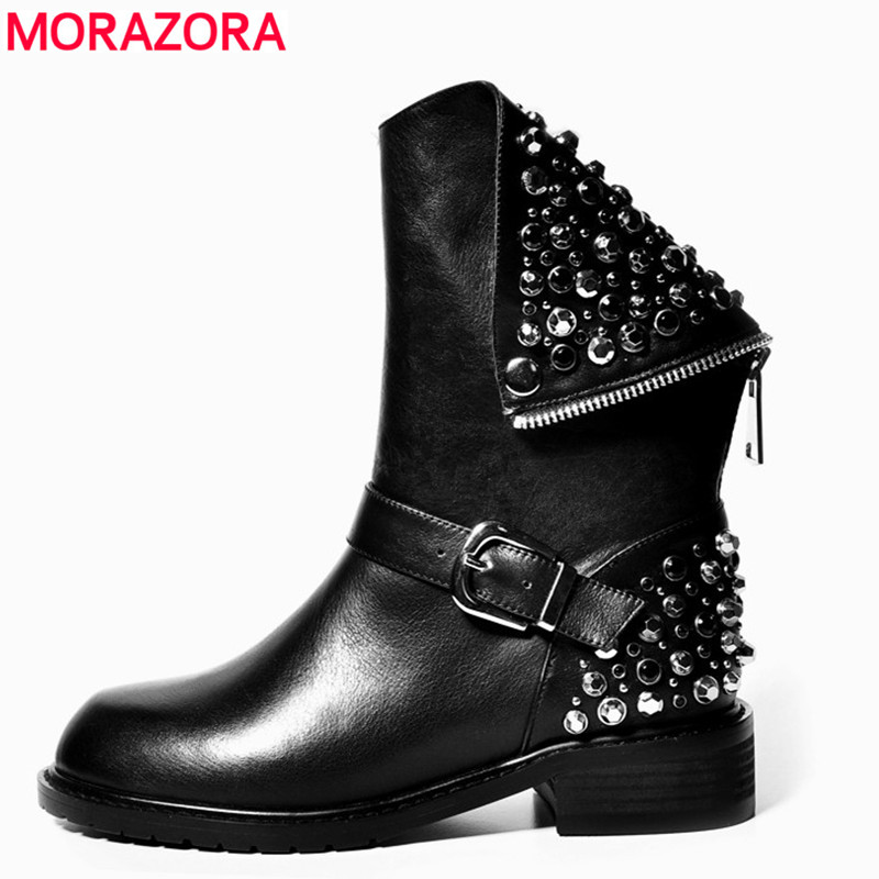 High quality PU + genuine leather boots rivets square heels autumn winter ankle boots sexy martin fur snow boots shoes woman(China (Mainland))