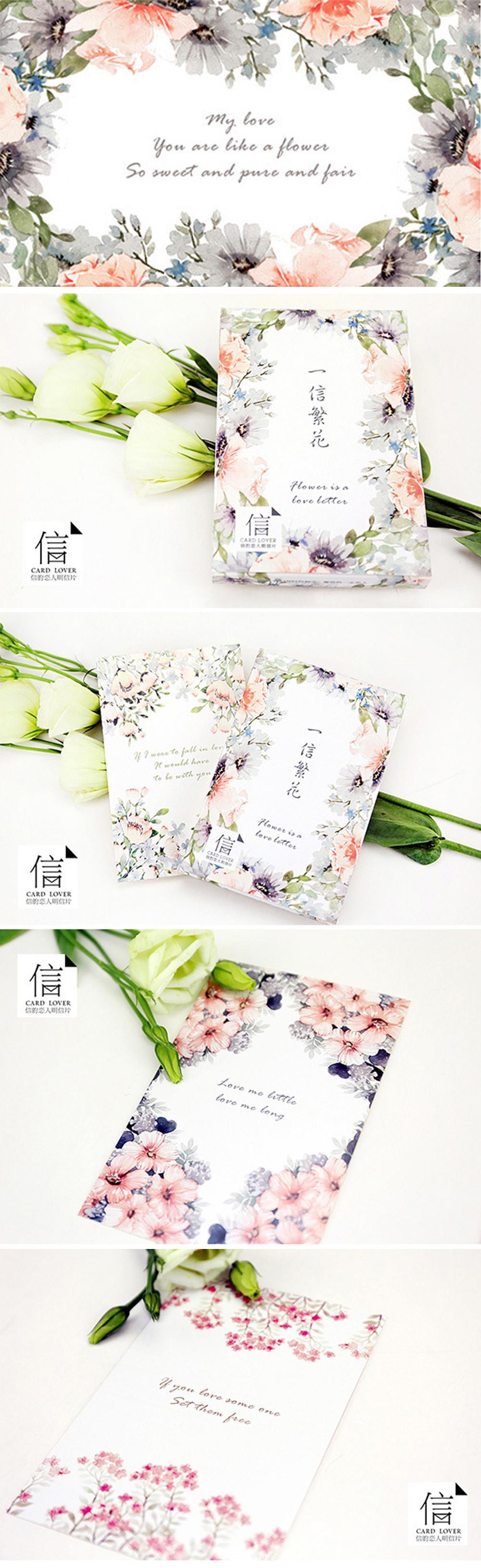 English Love Letter Flower Postcard Greeting Card Christmas Card