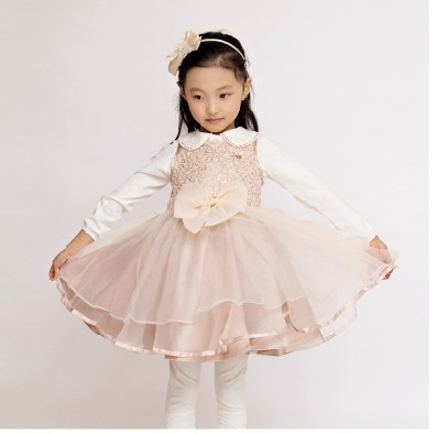 2015 Wholesale Princess Summer Baby Girls Sequin With Bow Chiffon  Cute Kid  Toddler Girl Dresses Girl Clothing<br><br>Aliexpress