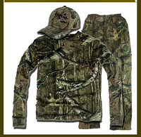 Bionic breathable  camouflage hunting clothes green leaf Shirt Pants and Hat suitable for spring autumn winter