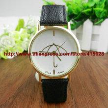 High Quality Leather Brand Quartz Women Geneva Dress Watch Casual Ladies Women Watches Umbrella Pattern Wristwatch 100pcs/lot(China (Mainland))