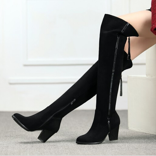 women high heel over the knee boots ladies riding boots fashion long snow boot warm winter botas heels footwear shoes size 31-45<br><br>Aliexpress
