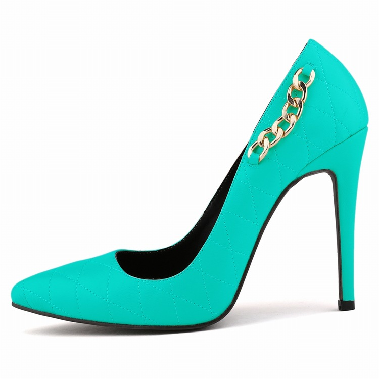 Big Size 40-42 Women High Heel Shoes Fashion New Brand Sapatos Femininos Chains Design Zapatos Mujer Pointed Toe Women Pumps