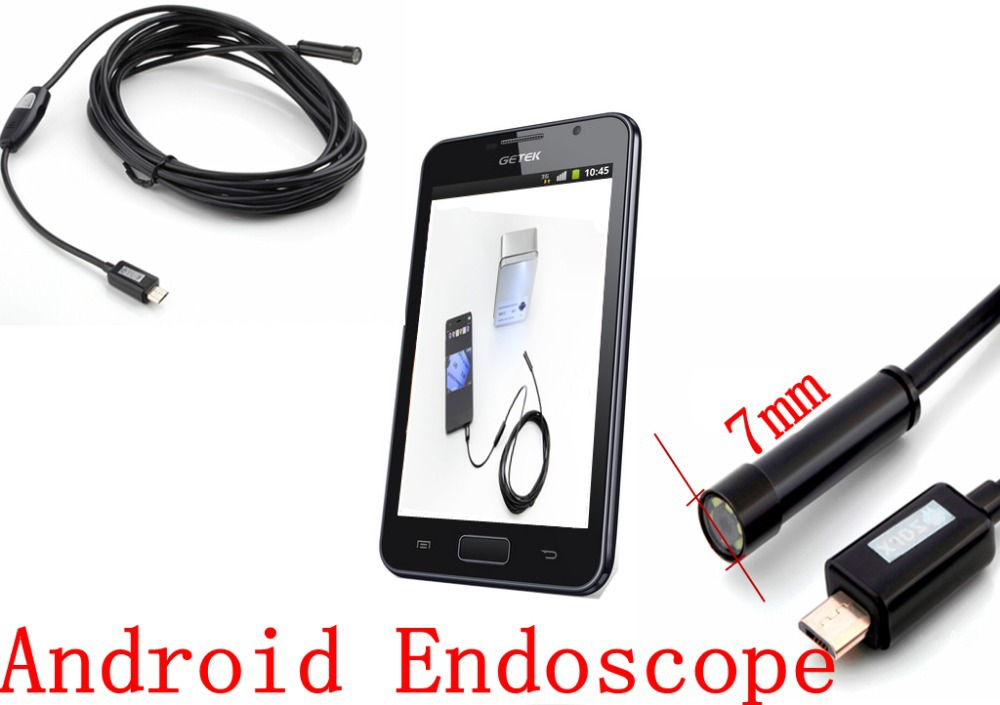 Industrial Endoscope HD 720P Pixels Android Endoscope Inspection Snake Camera with 6 LED 1M Probe and 7MM Lens(China (Mainland))