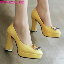 Yellow 10 CM Height Thick High Heel PU Woman Pumps Slip on Summer Platform Women Shoes Round Toe Ladies Pink Blue Wedding Shoes