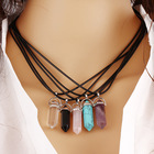 2015 Bullet Shape Natural Stone Amethyst Necklaces For Women Turquoise Crystal Gem Stone Quartz Pendant Necklace For FemaleE0057