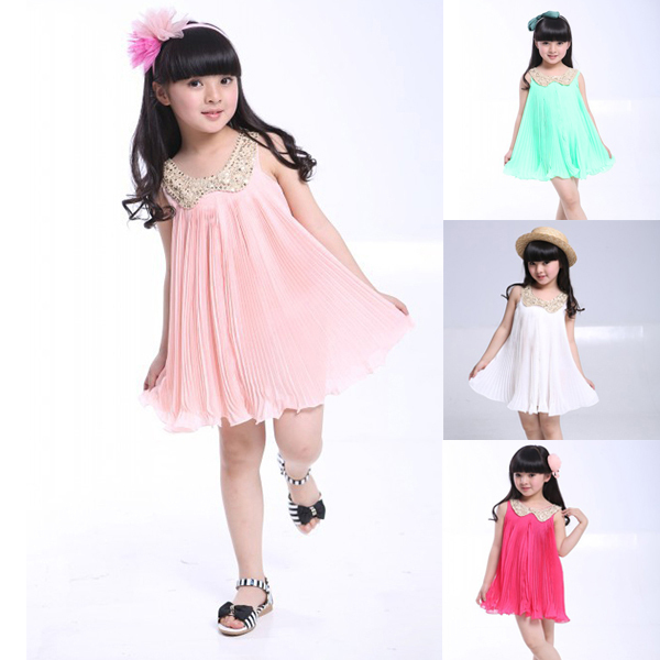 2015 New Arrival Toddler Girl Pleated Sequins Lapel Birthday Sundress One Piece Dress Wholesale(China (Mainland))