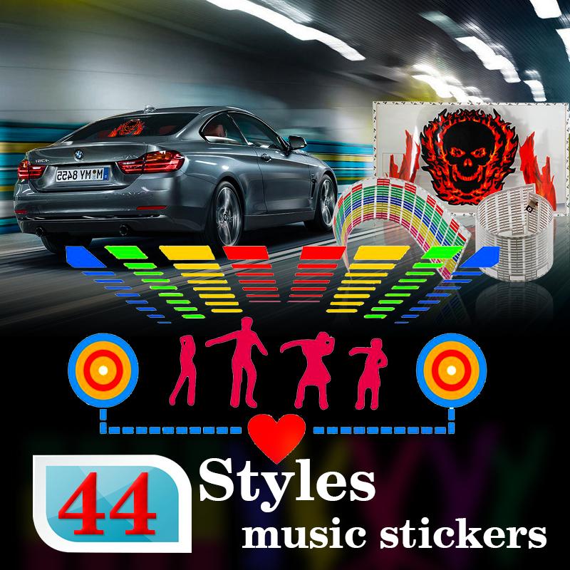 Car styling 90*25 40*30 50*30 Automobile LED EL Sheet Car Music Sticker Equalizer Glow Flash Panel Light Flashing(China (Mainland))
