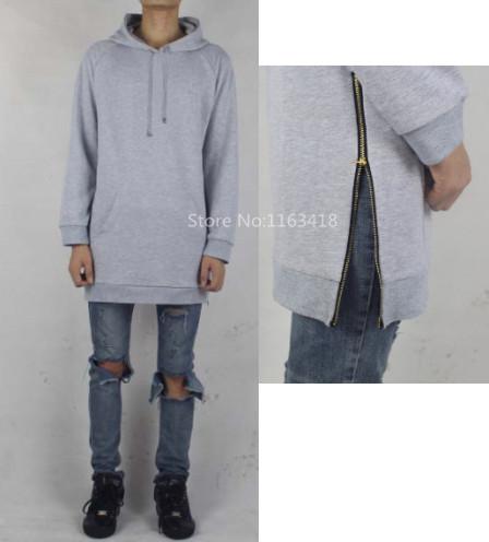 oversized hoodie men side zip extended black hip hop kanye. Black Bedroom Furniture Sets. Home Design Ideas