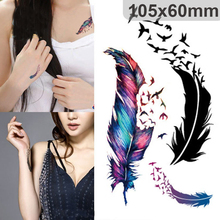 Fashion Temporary Tattoos Colorful Geese Feathers For Pattern Cartoon Tattoos Body Art Waterproof Flash Stickers