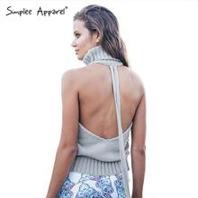 Simplee Apparel backless turtleneck sexy knitted pullover sweaters women Autumn tricot pull femme jumpers oversized fall fashion(China (Mainland))