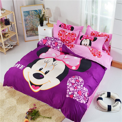 HOT SALE! Minnie mouse bedding sets kids/mickey bed set twin full size bedclothes 3D bed linen child girl boys bed sheet textile(China (Mainland))
