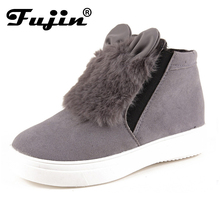 2017 spring autumn slipony Woman Platform With Ears women winter shoes Boots plush slip on For Student Shoes Female Warm Bota(China (Mainland))