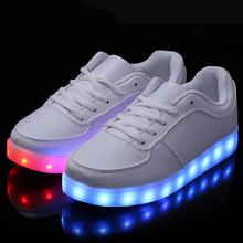 8 Color LED Luminous Shoes Men Women Fashion Casual Yeezy Lighted Glowing Light up shoes For Adults White Black Zapatos mujer(China (Mainland))