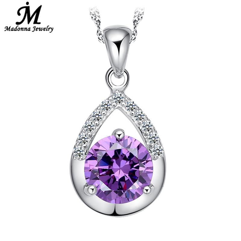 2016 High Quality Luxury Purple White Crystal CZ Necklace Pendant Women Jewelry Silver Plate Party Jewelry(China (Mainland))
