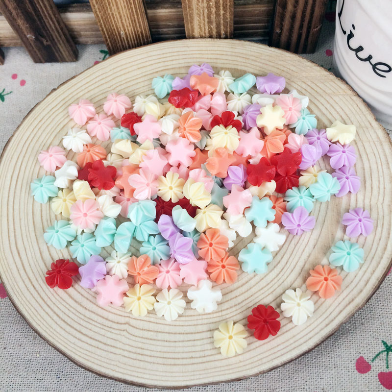100Pieces Mix Color Flatback Flat Back Resin Flower Cabochon Kawaii DIY Resin Craft Decoration Scrapbook Embellishment:11mm(China (Mainland))