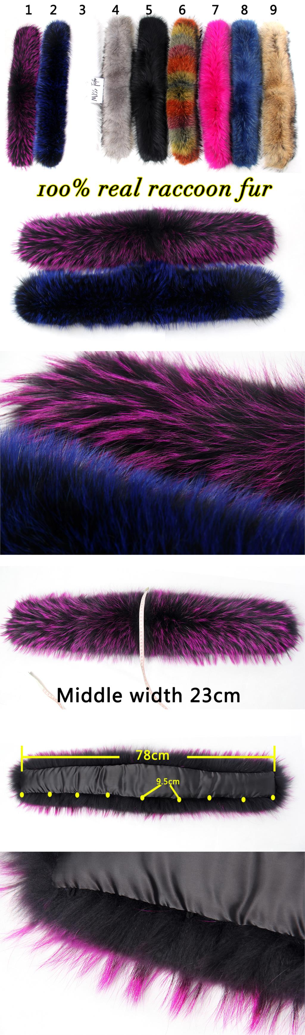 Большой капюшоном меха 100% реального ракун цвет меховой воротник Высокое качество