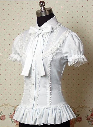 Can be custom 2015 Summer Dark White Cotton Short Sleeve Notched Collar Cute lolita blouses,Halloween Lace Costumes for Women