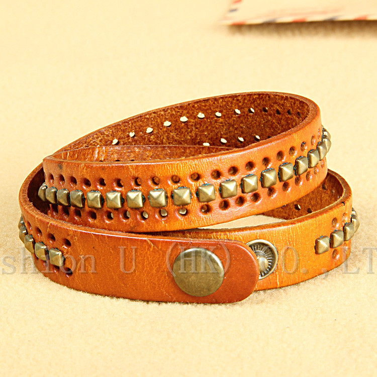 100 Genuine Cowhide Leather bracelet men for women wholesale trendy fashion personality polycyclic porous jewelry holiday