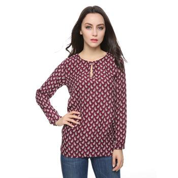 Women paisley blouse chiffon blusa feminina vintage office lady work long sleeve shirt casual camisas femininas tops ST2445