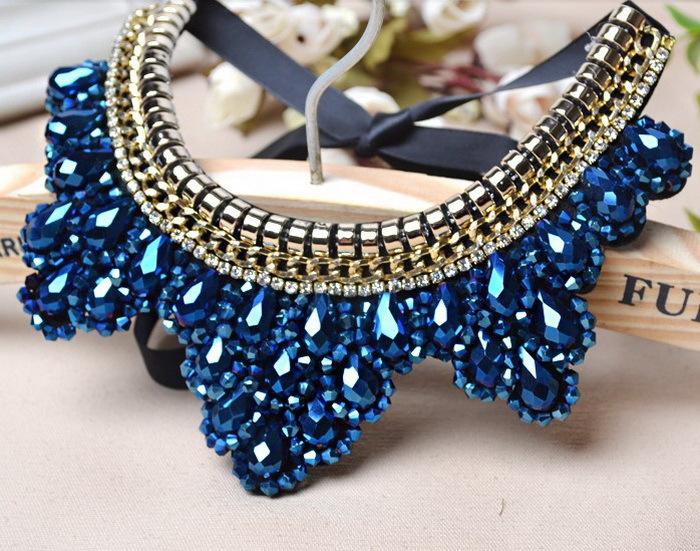 Hermosas joyas gargantillas Crystal Collares falsos Girls collares, duración  se puede ajustar Collar falso del Collar hechos a mano en de en