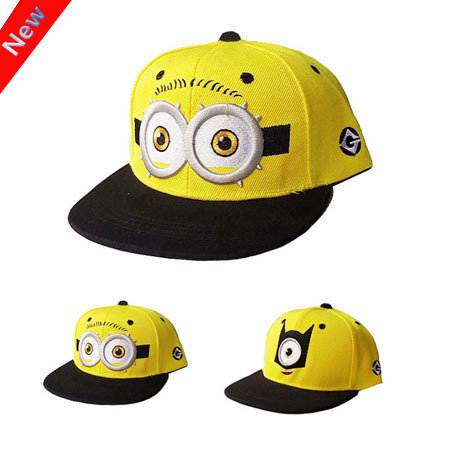 2015 Fashion Baseball Cap God Steal Dads Film Yellow People Minions Children Flat Snapback Hip-hop Caps for Boy And Girls Canvas(China (Mainland))
