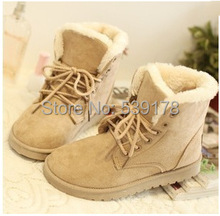 women boots 2015 women winter shoes flat heel ankle boots casual cute warm shoes fashion snow boots women's boots(China (Mainland))